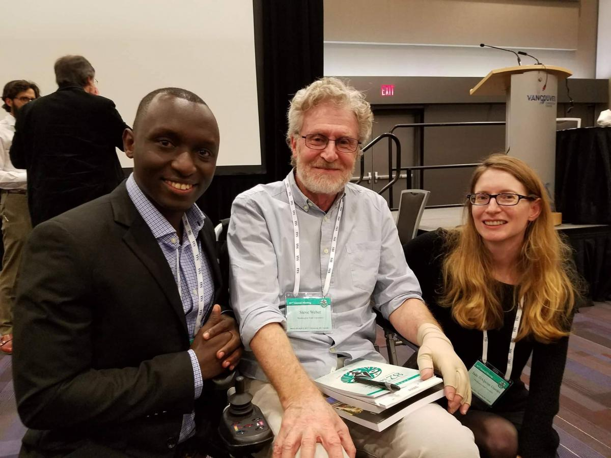 Steve Weber with Jade d'Alpoim Guedes (right) and Cedric Habiyareyme (Left) at his Festscrhift Symposium at the Society for American Archaeology meetings in Vancouver, BC.