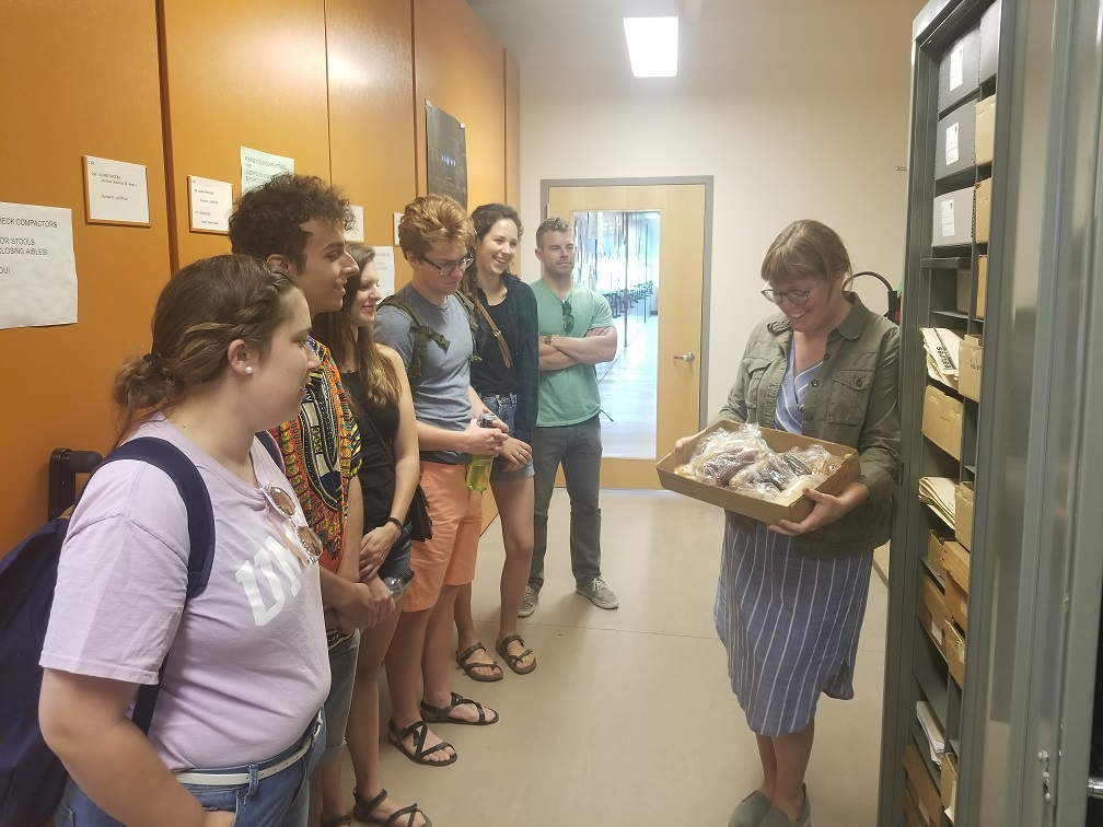 Students examine reference collection
