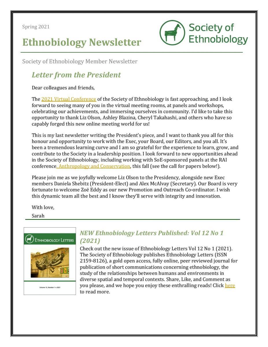 Spring/Summer 2020 Ethnobiology Newsletter